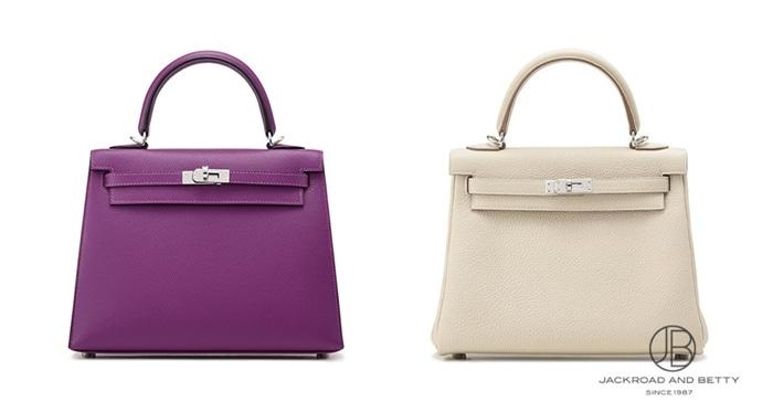 左が外縫い、右が内縫いのケリーバッグ